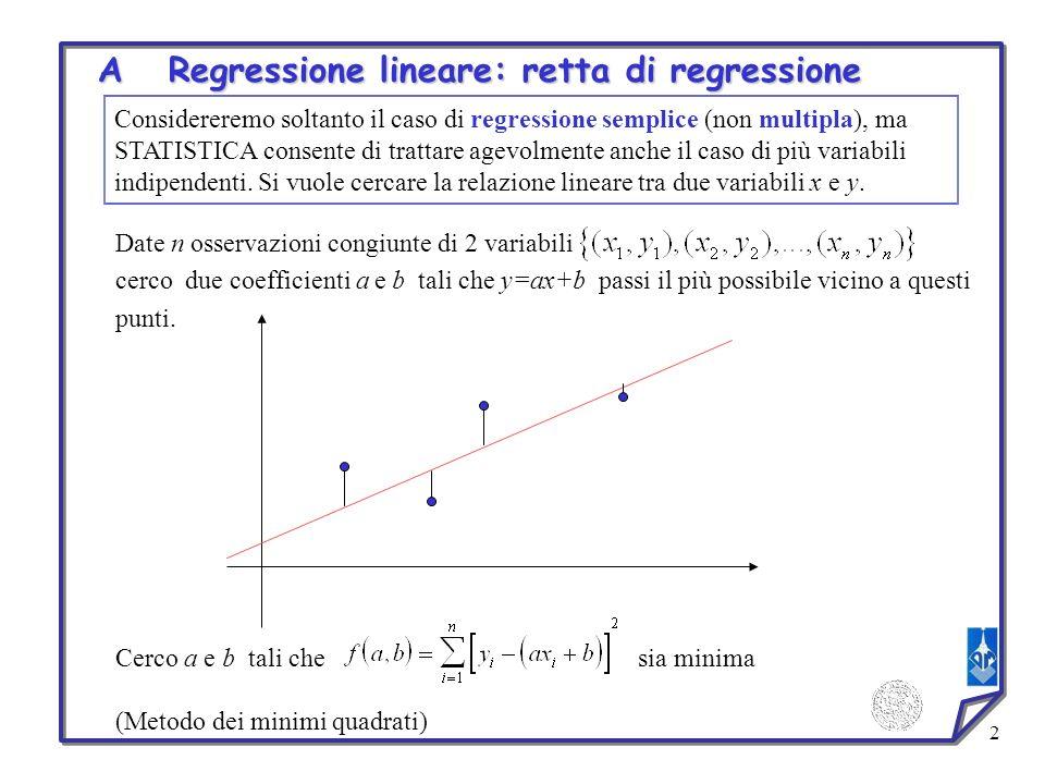 A Regressione lineare: retta di regressione