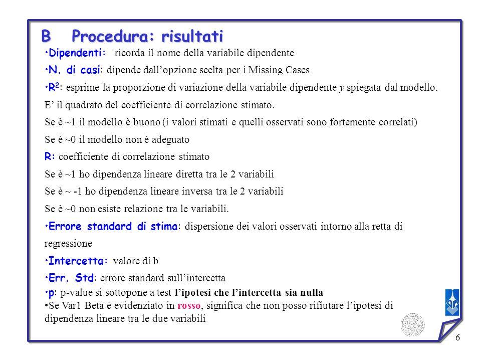 B Procedura: risultati