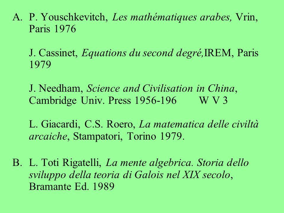 P. Youschkevitch, Les mathématiques arabes, Vrin, Paris 1976 J