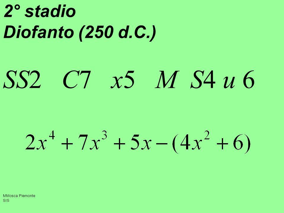 2° stadio Diofanto (250 d.C.) SS2 C7 x5 M S4 u 6