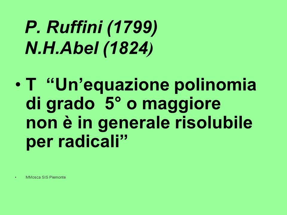 P. Ruffini (1799) N.H.Abel (1824) T Un'equazione polinomia di grado 5° o maggiore non è in generale risolubile per radicali