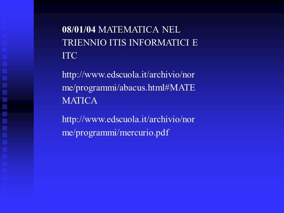 08/01/04 MATEMATICA NEL TRIENNIO ITIS INFORMATICI E ITC