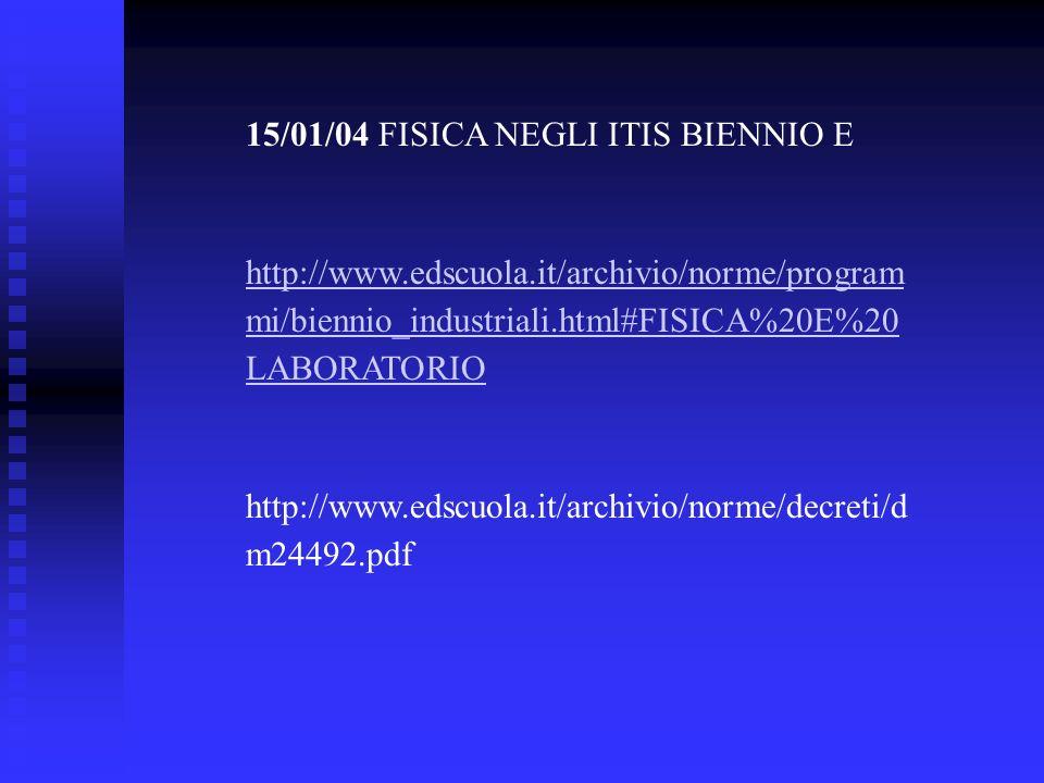 15/01/04 FISICA NEGLI ITIS BIENNIO E