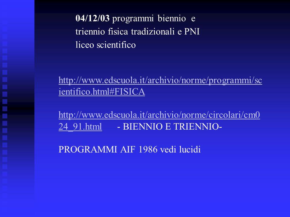 04/12/03 programmi biennio e triennio fisica tradizionali e PNI liceo scientifico