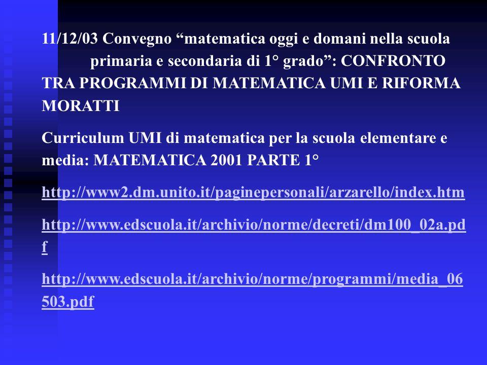 11/12/03 Convegno matematica oggi e domani nella scuola