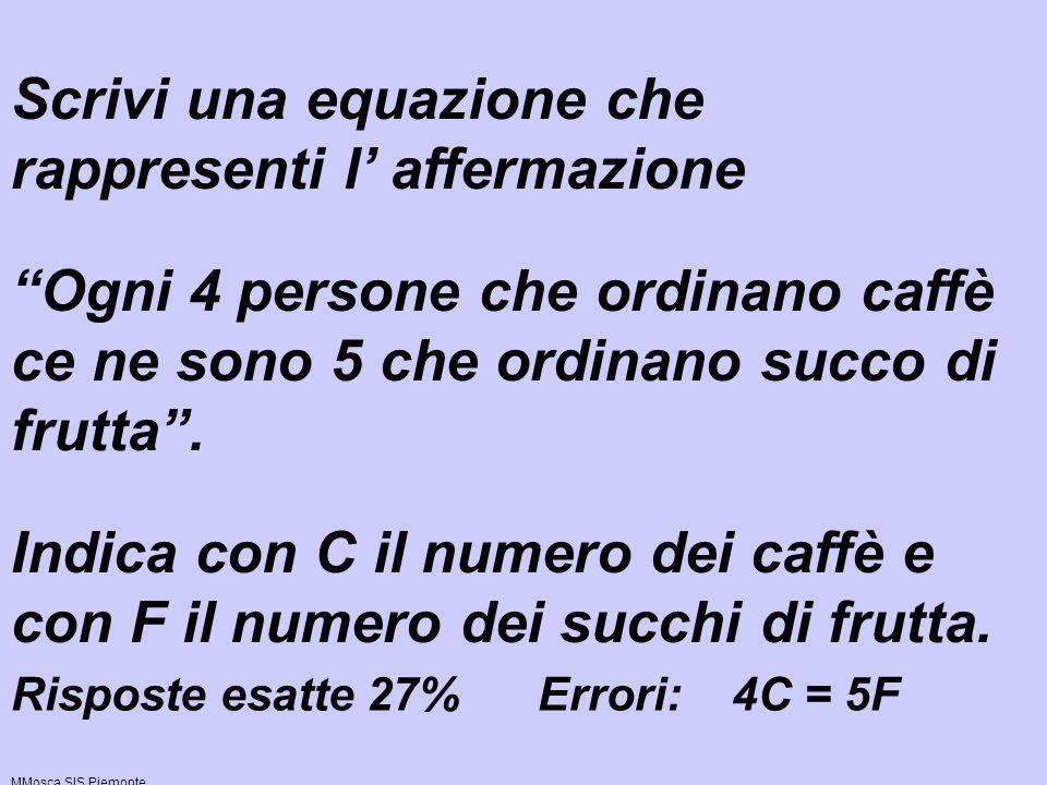 Scrivi una equazione che rappresenti l' affermazione