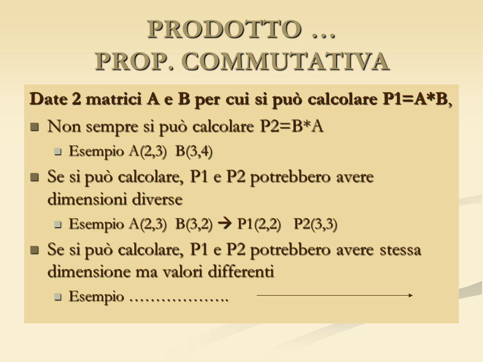 PRODOTTO … PROP. COMMUTATIVA