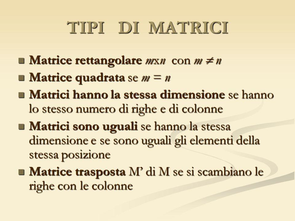 TIPI DI MATRICI Matrice rettangolare mxn con m  n