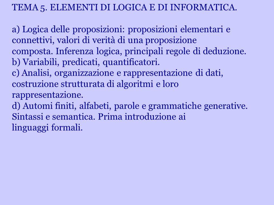 TEMA 5. ELEMENTI DI LOGICA E DI INFORMATICA