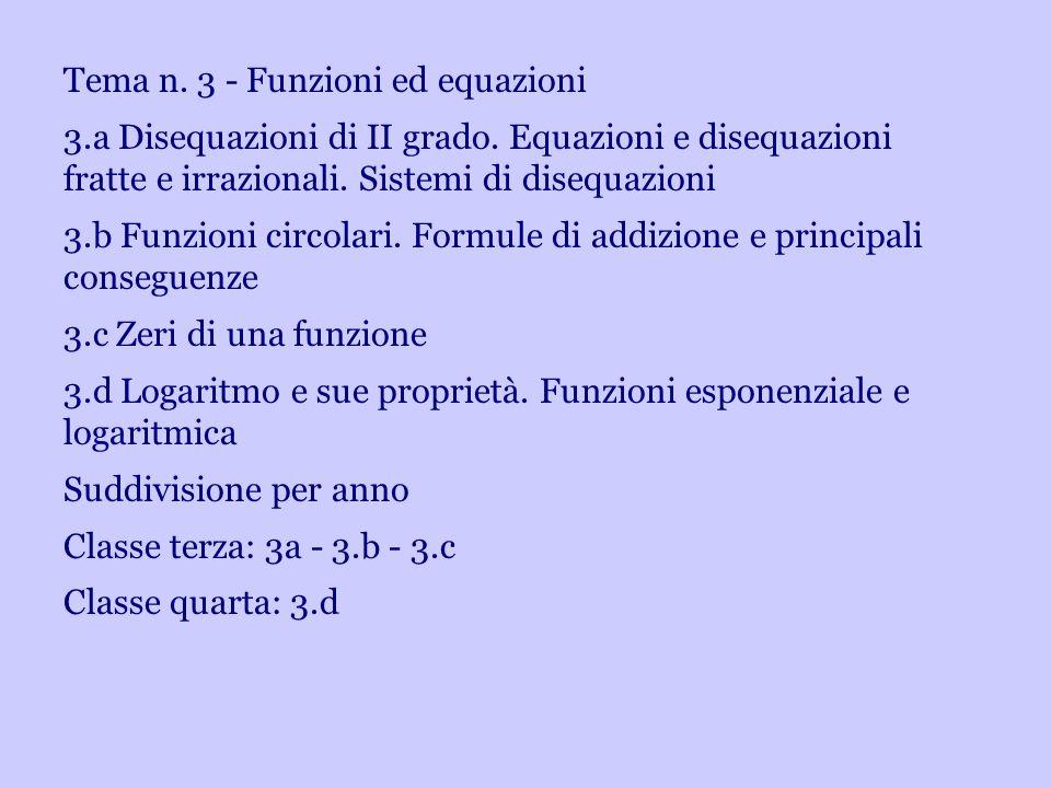 Tema n. 3 - Funzioni ed equazioni