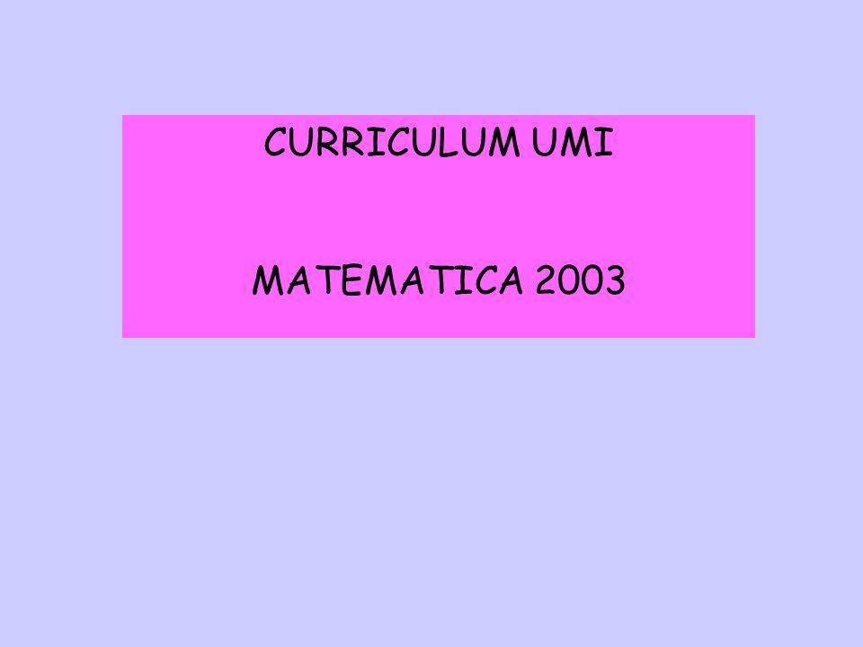 CURRICULUM UMI MATEMATICA 2003