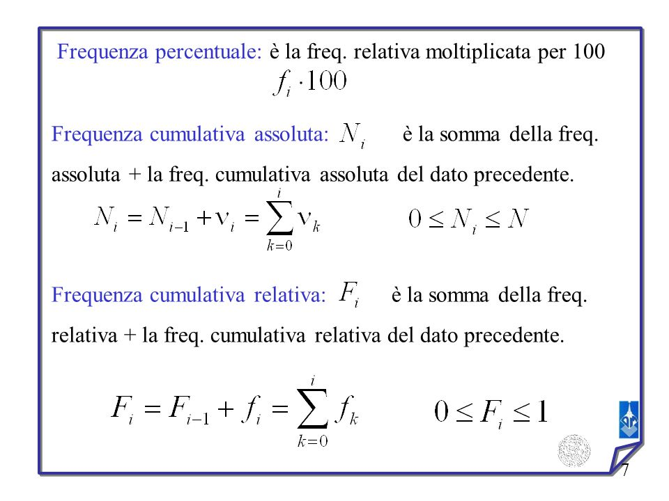 Frequenza percentuale: è la freq. relativa moltiplicata per 100