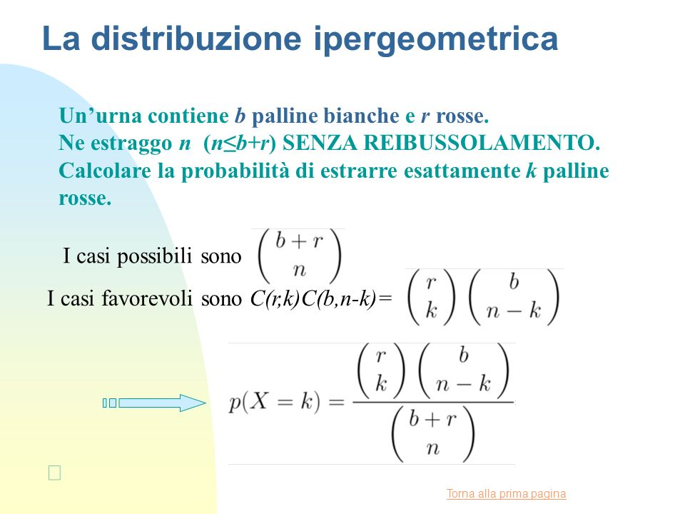 La distribuzione ipergeometrica