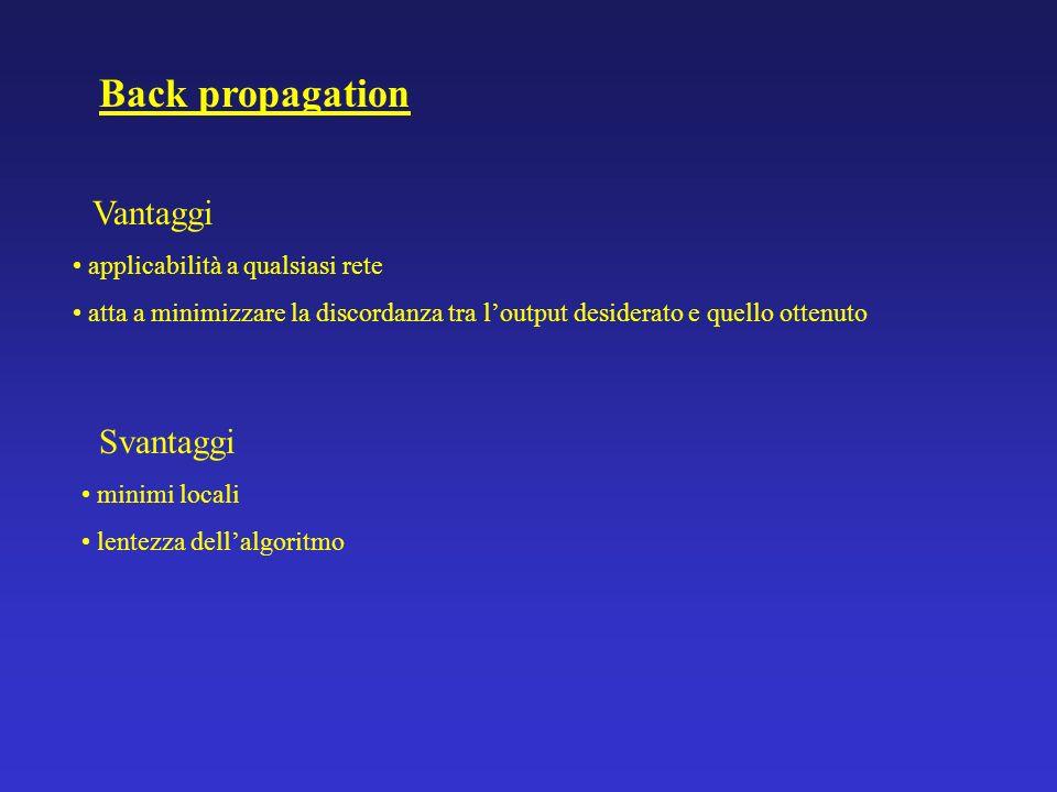 Back propagation Svantaggi Vantaggi applicabilità a qualsiasi rete