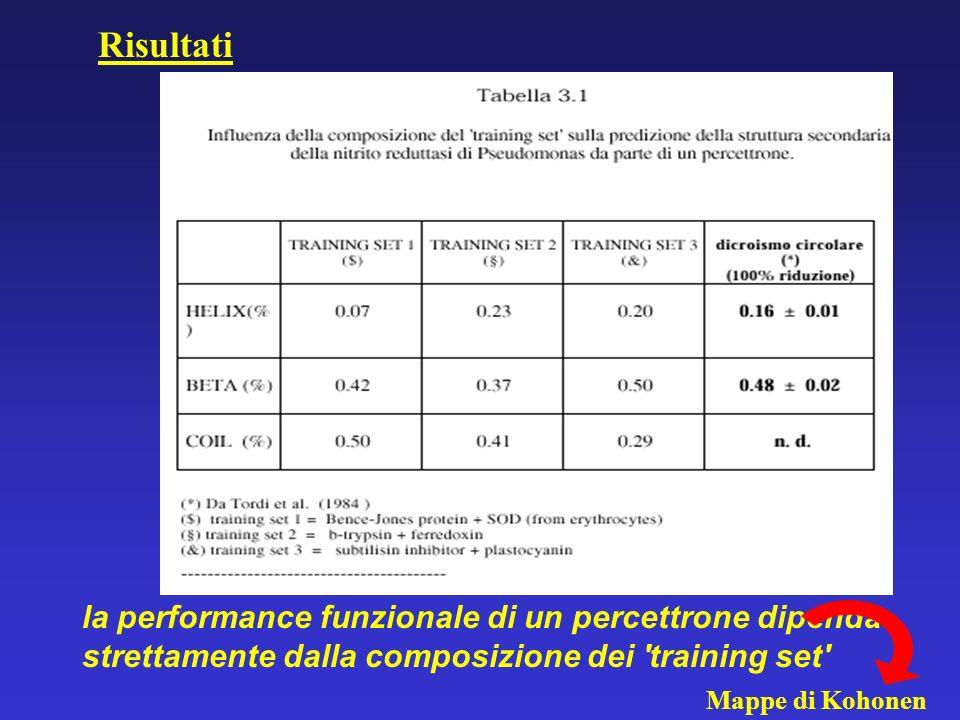Risultati la performance funzionale di un percettrone dipenda strettamente dalla composizione dei training set