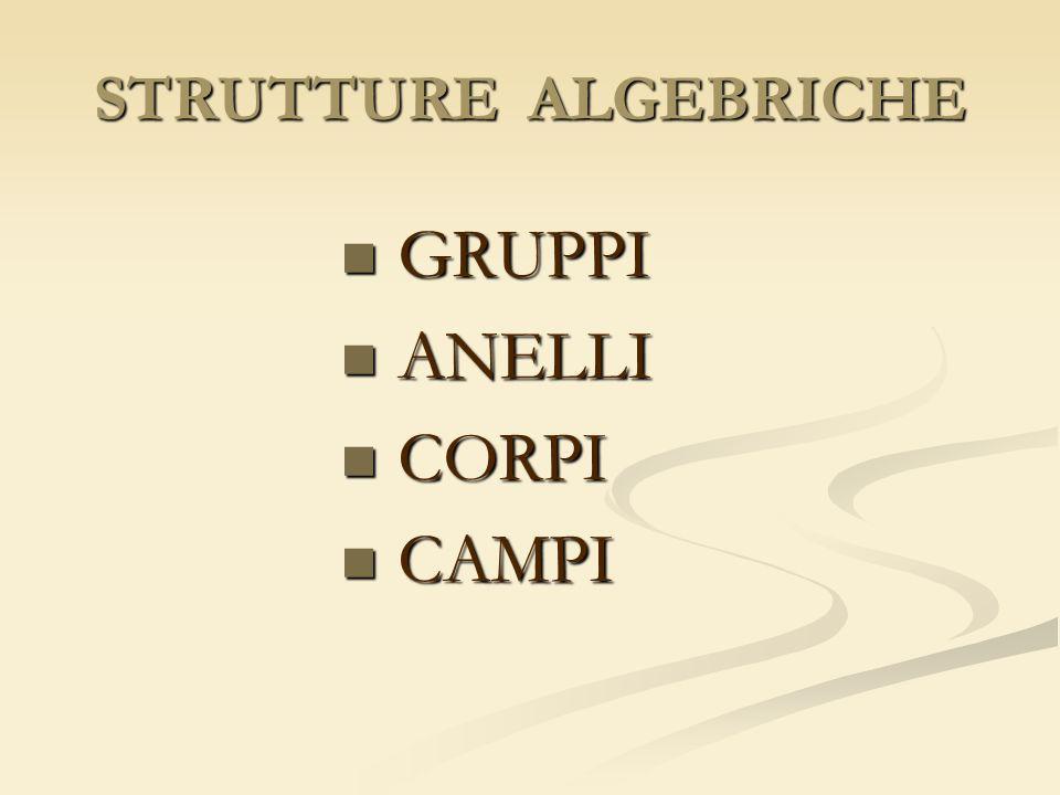 STRUTTURE ALGEBRICHE GRUPPI ANELLI CORPI CAMPI