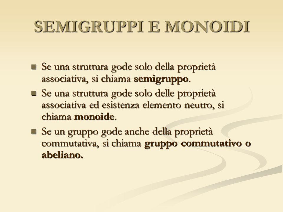 SEMIGRUPPI E MONOIDI Se una struttura gode solo della proprietà associativa, si chiama semigruppo.