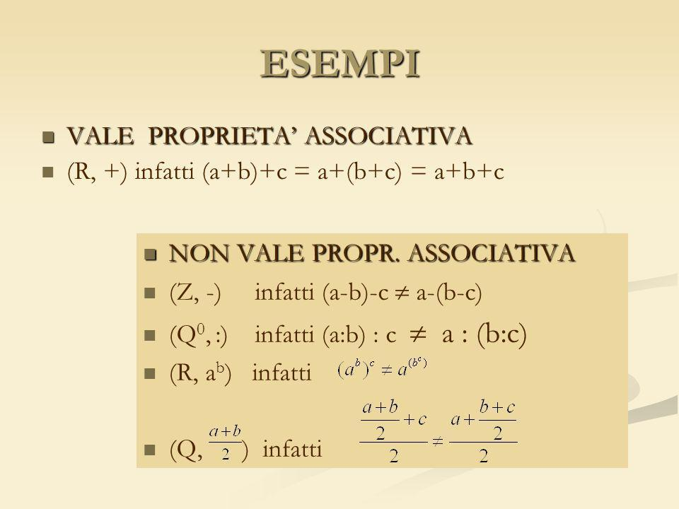 ESEMPI VALE PROPRIETA' ASSOCIATIVA