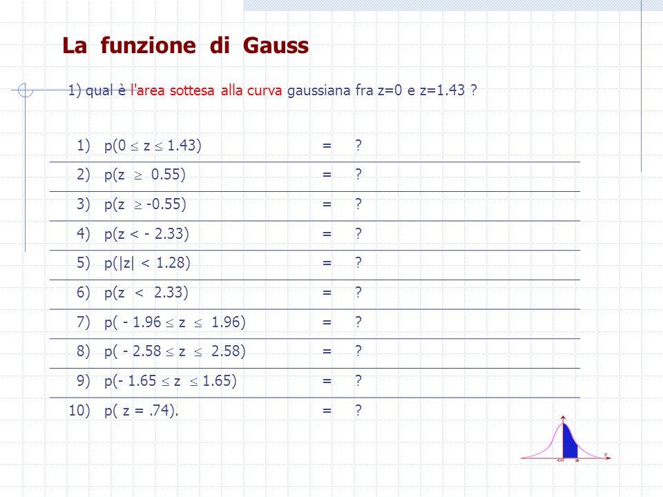 La funzione di Gauss 1) qual è l area sottesa alla curva gaussiana fra z=0 e z=1.43 1) p(0  z  1.43)