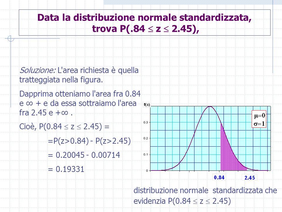 Data la distribuzione normale standardizzata, trova P(.84  z  2.45),