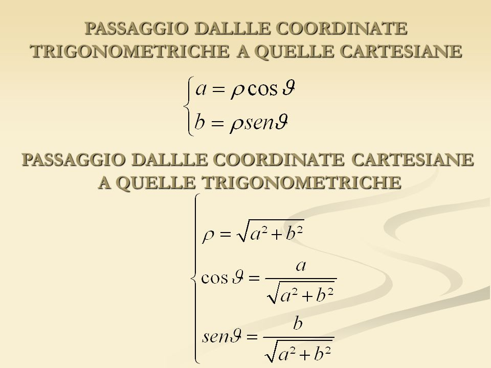 PASSAGGIO DALLLE COORDINATE TRIGONOMETRICHE A QUELLE CARTESIANE