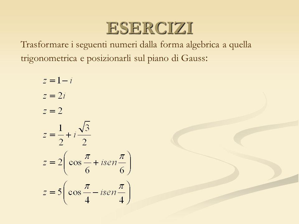 ESERCIZITrasformare i seguenti numeri dalla forma algebrica a quella trigonometrica e posizionarli sul piano di Gauss: