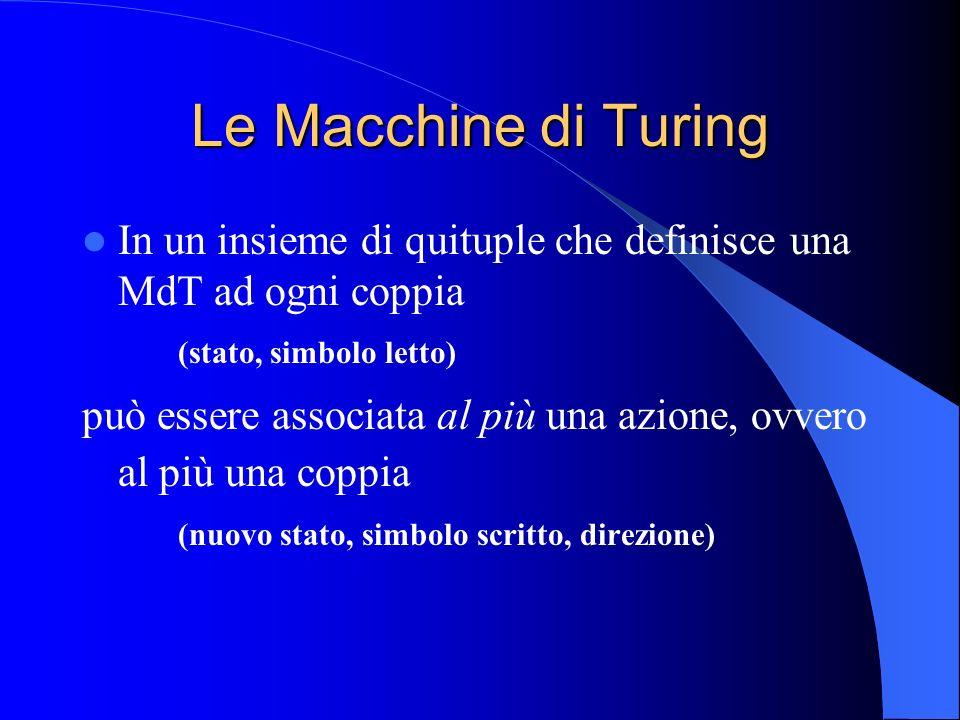 Le Macchine di Turing In un insieme di quituple che definisce una MdT ad ogni coppia. (stato, simbolo letto)