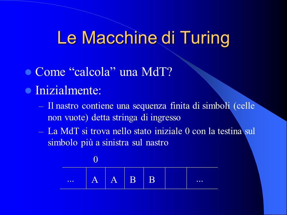 Le Macchine di Turing Come calcola una MdT Inizialmente:
