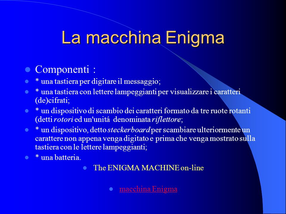 The ENIGMA MACHINE on-line