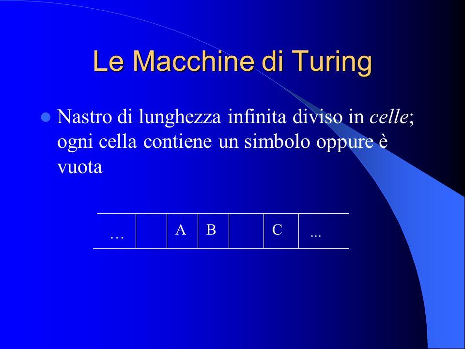 Le Macchine di Turing Nastro di lunghezza infinita diviso in celle; ogni cella contiene un simbolo oppure è vuota.