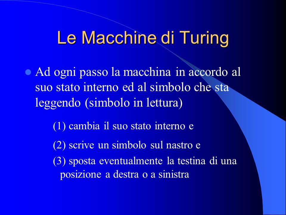 Le Macchine di Turing Ad ogni passo la macchina in accordo al suo stato interno ed al simbolo che sta leggendo (simbolo in lettura)