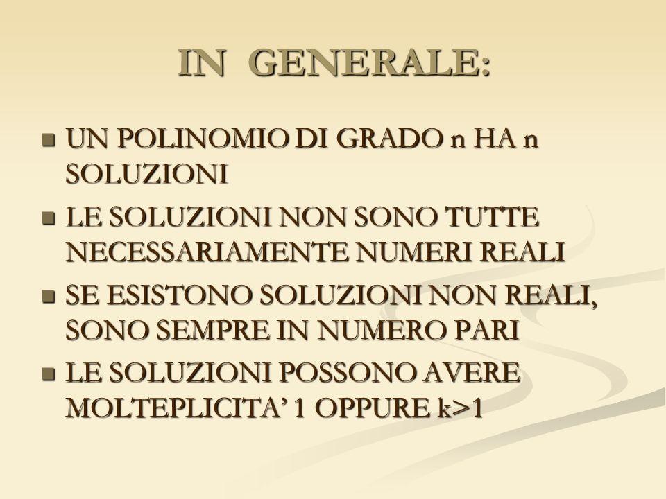 IN GENERALE: UN POLINOMIO DI GRADO n HA n SOLUZIONI
