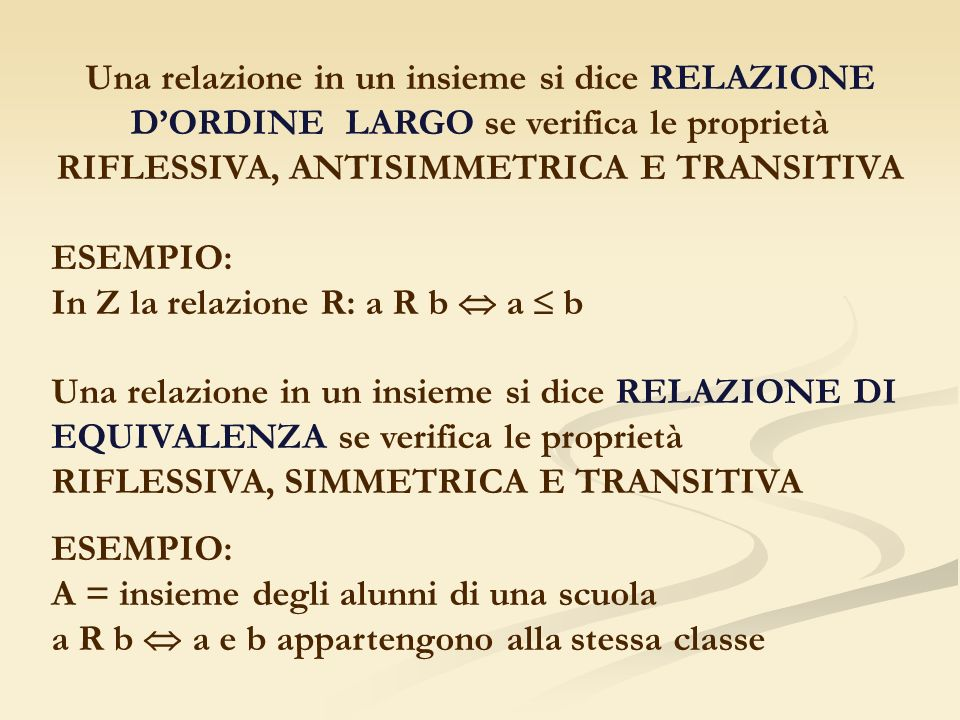 Una relazione in un insieme si dice RELAZIONE D'ORDINE LARGO se verifica le proprietà RIFLESSIVA, ANTISIMMETRICA E TRANSITIVA