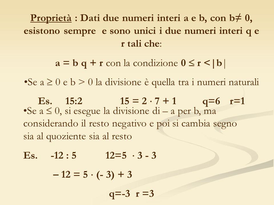 a = b q + r con la condizione 0  r <|b|
