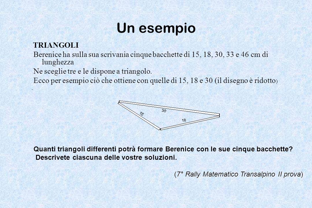 Un esempio TRIANGOLI. Berenice ha sulla sua scrivania cinque bacchette di 15, 18, 30, 33 e 46 cm di lunghezza.
