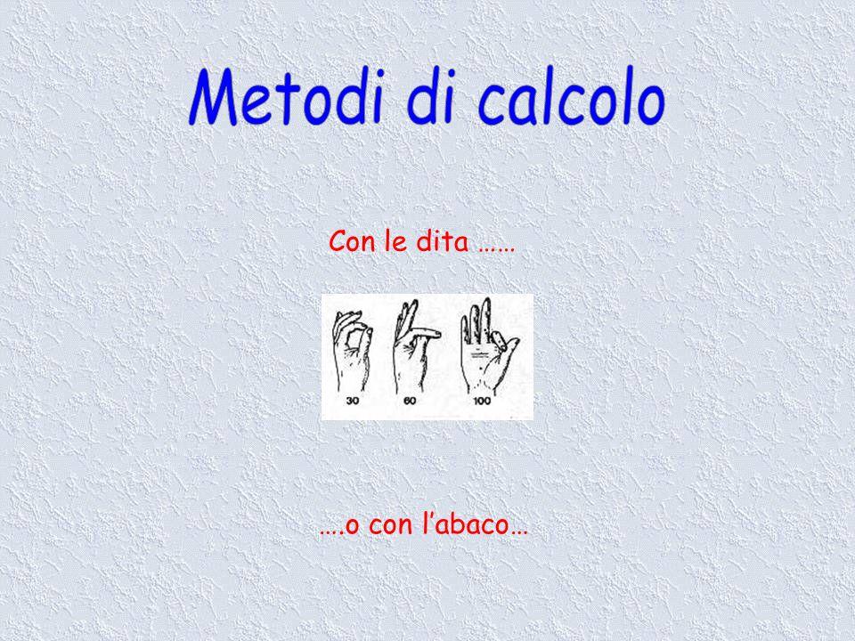 Metodi di calcolo Con le dita …… ….o con l'abaco…