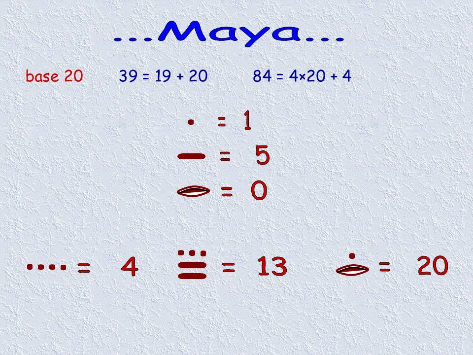 ...Maya... base 20 39 = 19 + 20 84 = 4×20 + 4 = 1 = 5 = 0 = 4 = 13 = 20