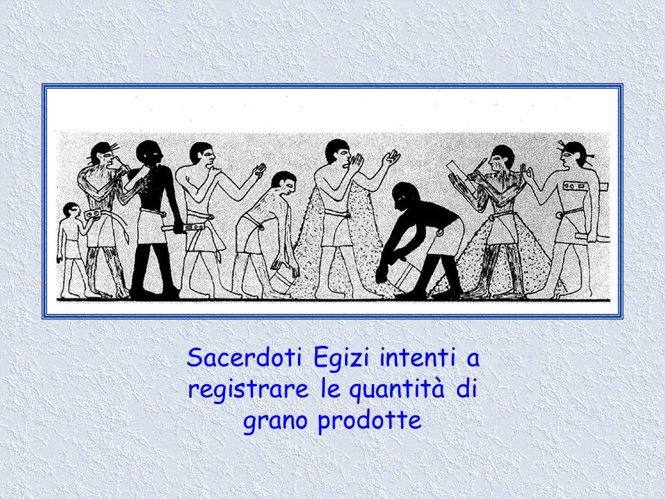 Sacerdoti Egizi intenti a registrare le quantità di grano prodotte