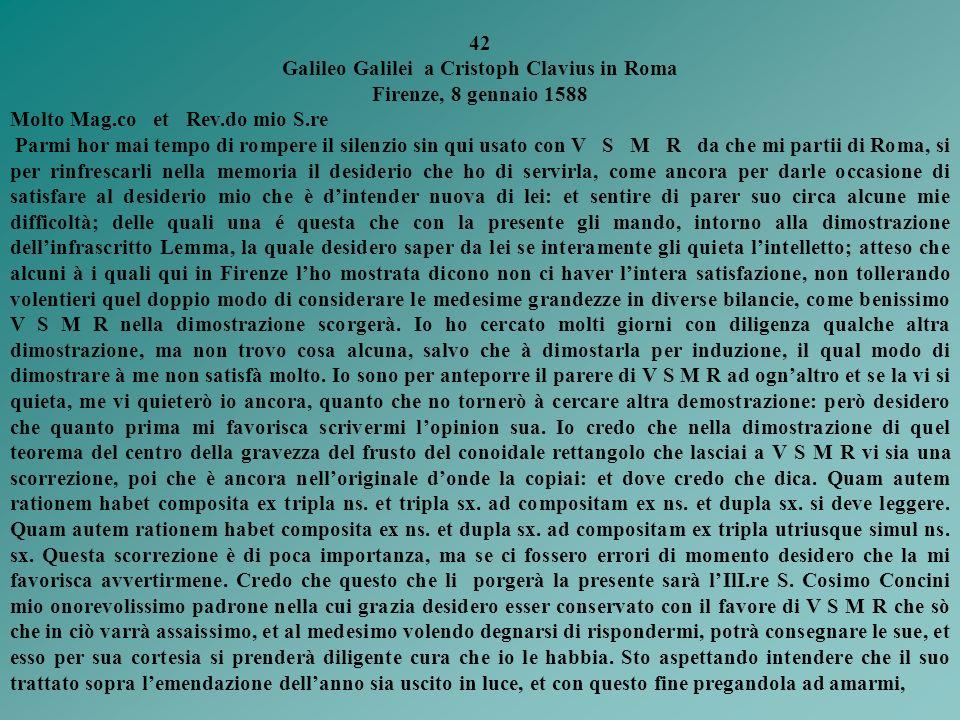 Galileo Galilei a Cristoph Clavius in Roma