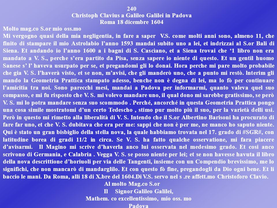 Christoph Clavius a Galileo Galilei in Padova Roma 18 dicembre 1604