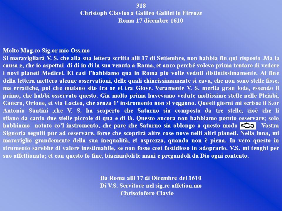 Christoph Clavius a Galileo Galilei in Firenze Roma 17 dicembre 1610