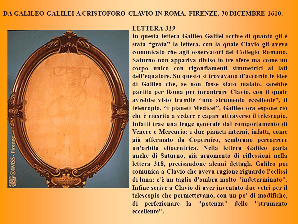DA GALILEO GALILEI A CRISTOFORO CLAVIO IN ROMA