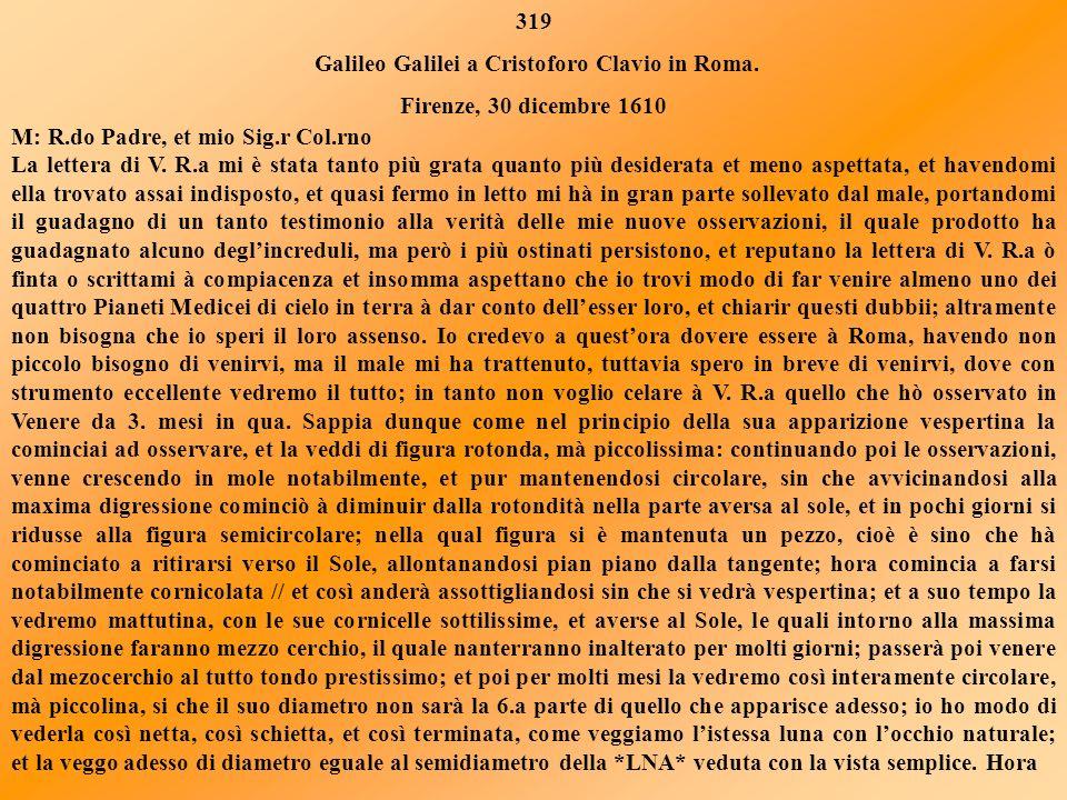 Galileo Galilei a Cristoforo Clavio in Roma.