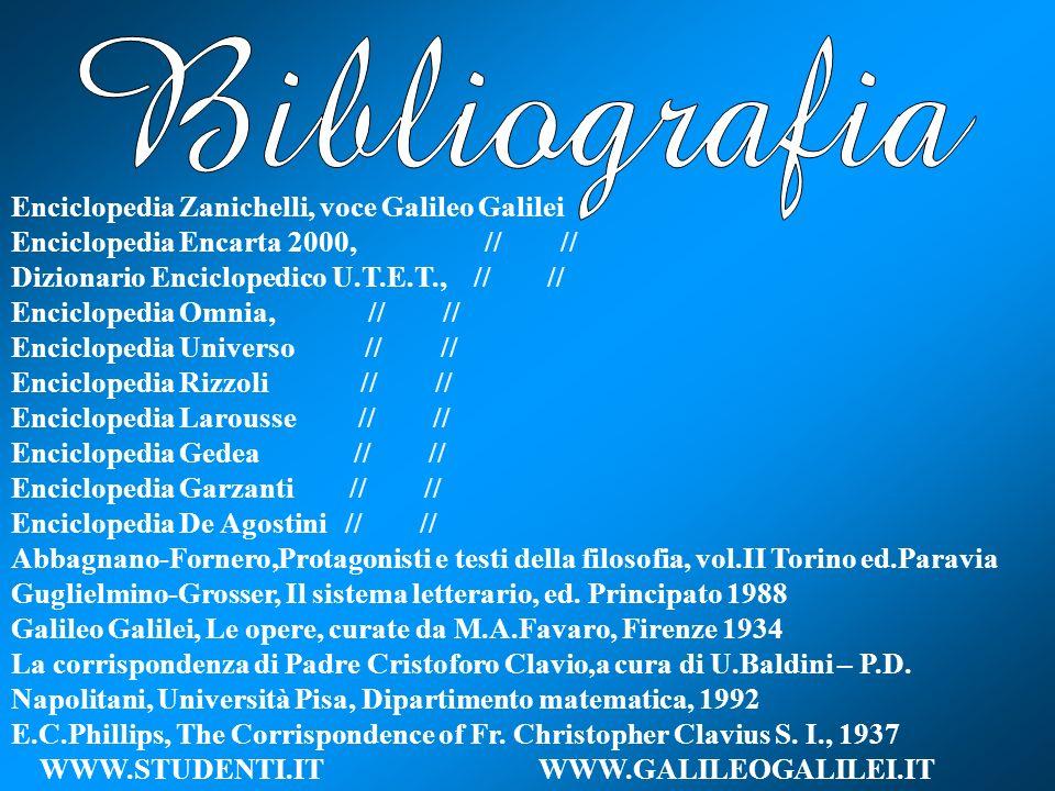 Bibliografia Enciclopedia Zanichelli, voce Galileo Galilei