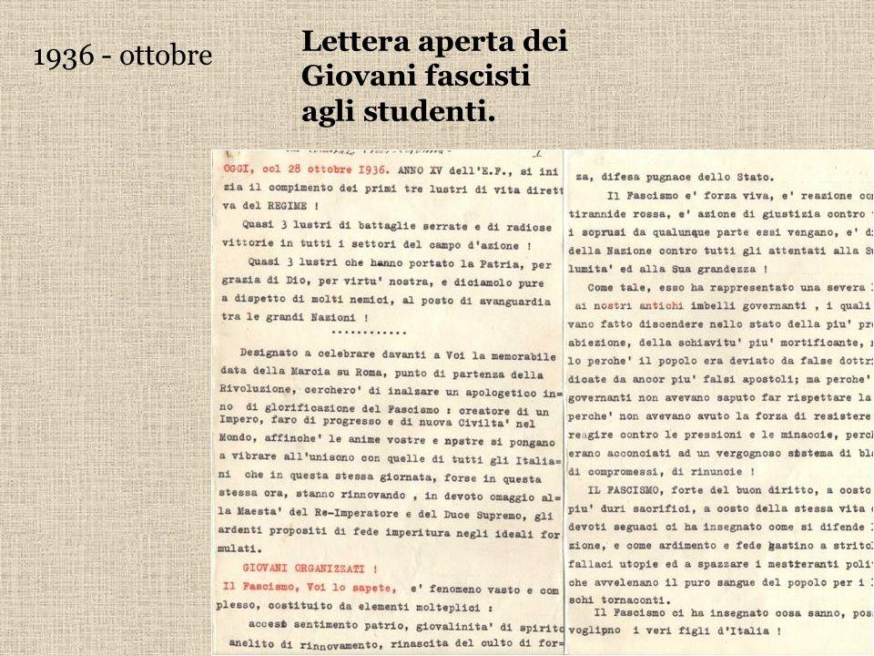 Lettera aperta dei Giovani fascisti agli studenti.