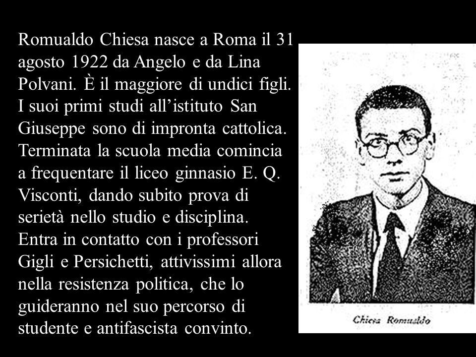 Romualdo Chiesa nasce a Roma il 31 agosto 1922 da Angelo e da Lina Polvani.