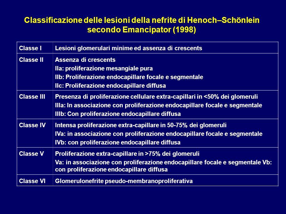 Classificazione delle lesioni della nefrite di Henoch–Schönlein secondo Emancipator (1998)