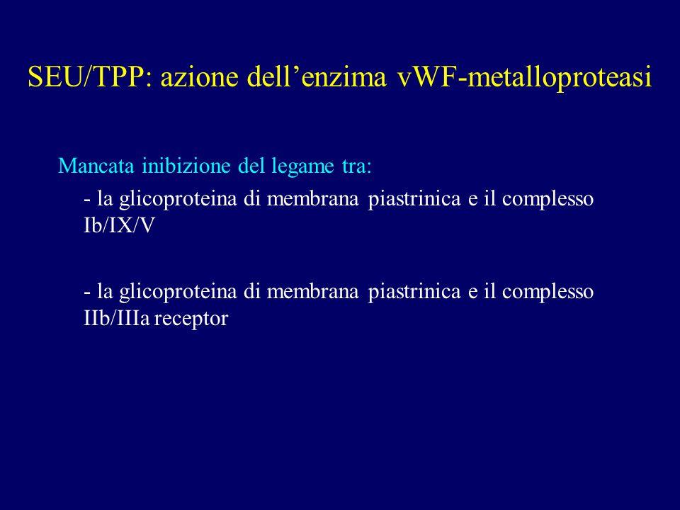 SEU/TPP: azione dell'enzima vWF-metalloproteasi