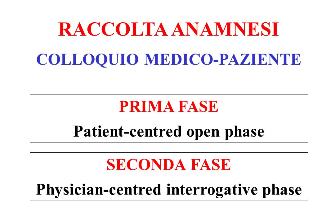 RACCOLTA ANAMNESI COLLOQUIO MEDICO-PAZIENTE PRIMA FASE