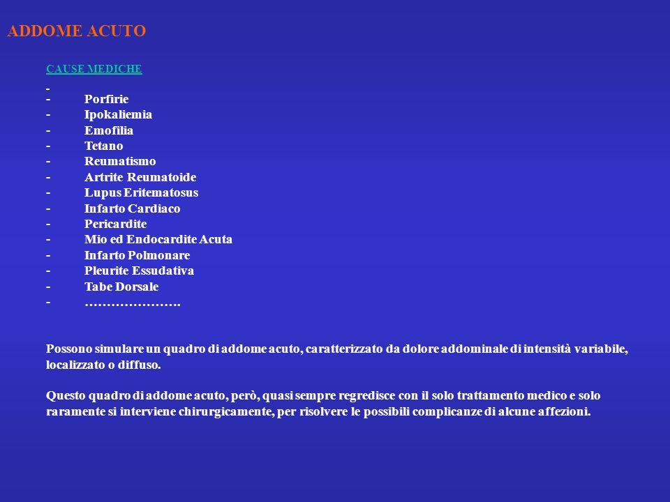 ADDOME ACUTO - Porfirie - Ipokaliemia - Emofilia - Tetano - Reumatismo
